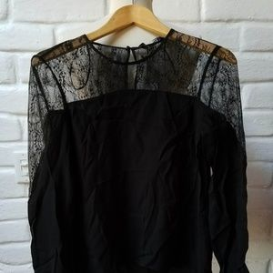 NWT ZARA SS BLACK SHEER FLORAL LACE SLEEVE BLOUSE